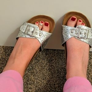 Silver Sparkly Slides Girly Sandals diva sandals